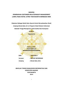 Penerapan Customer Relationship Management Crm Pada Hotel Citra Yogyakarta Berbasis Web Akakom Repository